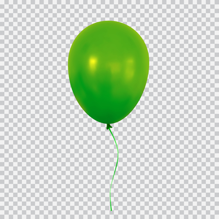 Green helium balloon isolated on transparent background. 向量圖像