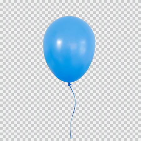 Blue helium balloon isolated on transparent background.