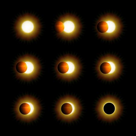 Diferentes fases de eclipse solar y solar Foto de archivo - 84568875