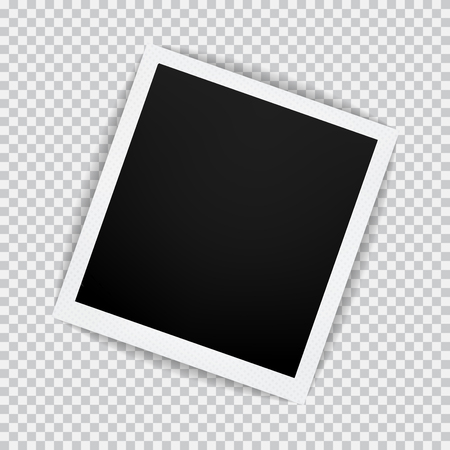 Old empty realistic photo frame with transparent shadow on plaid black white background.