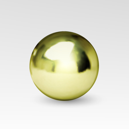 Gold chrome ball realistic isolated on white background