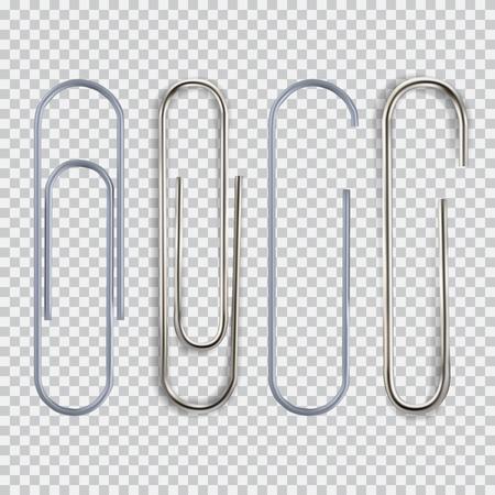 Realistic paper clips set on transparent background vector illustration.