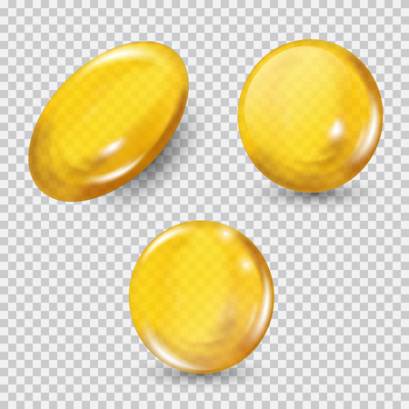 Gold glass ball set isolated on transparent background.