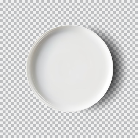 White plate isolated on transparent background. Kitchen dishes for food, plate and dish clean for kitchen, porcelain dish-ware.