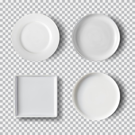 White plate set isolated on transparent background