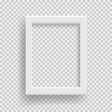 Empty realistic photo frame with transparent shadow on plaid black white background. Vector illustration. 向量圖像