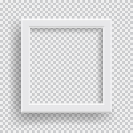 Empty realistic photo frame with transparent shadow on plaid black white background
