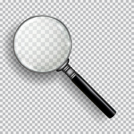 3D Realistic Magnifying Glass. Transparent loupe on plaid black white background.