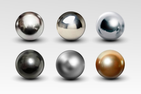 Chrome ball set realistic isolated on white background