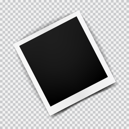 Old empty realistic photo frame with transparent shadow on plaid black white background. Photo border to family album. Make with gradient mesh tool. Vector illustration for your design and business.