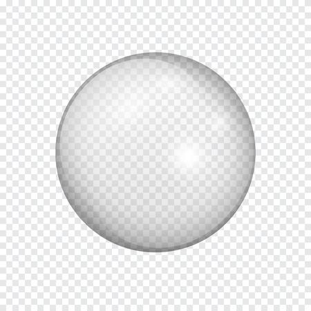 Przezroczysta szklana kula z odblaskami i refleksami