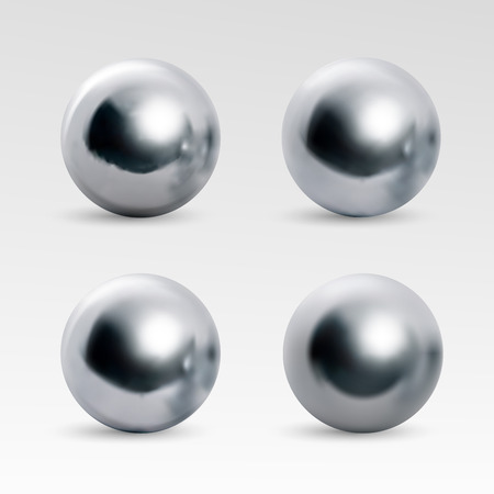 Chrome ball variations. Realistic image isolated on white background. Spherical 3D orb with transparent glares for decoration. Jewelry gemstones. Vector Illustration for your design and business.