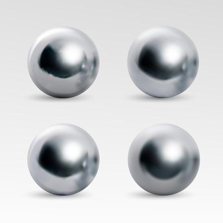 Varianti della sfera cromata. Immagine realistica isolata su sfondo bianco. Sfera 3D sferica con riflessi trasparenti per la decorazione. Pietre preziose dei gioielli. Illustrazione vettoriale per il tuo design e il tuo business.
