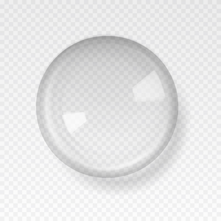 Transparent glass sphere with glares and highlights. White pearl, water soap bubble, shiny glossy orb. Vector illustration with transparencies, gradient and effects for your design and business.