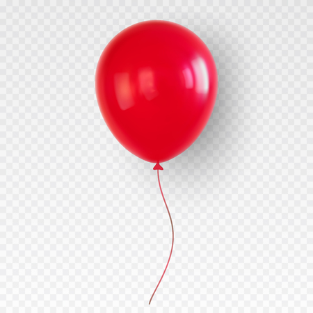 Red helium balloon. Birthday baloon flying for party and celebrations. Isolated on plaid transparent like background. Vector illustration for your design and business.