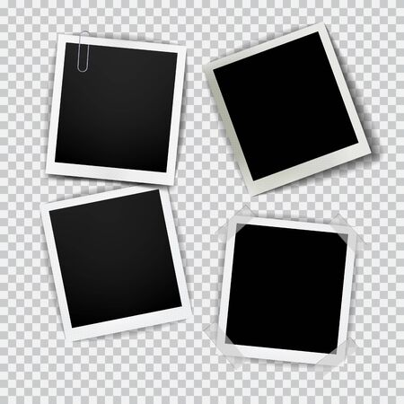 Old empty realistic photo frame with transparent shadow on plaid black white background Imagens - 134895817
