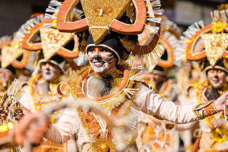 renown: Badajoz, Spain - february 15, 2015:Performers take part in the Carnival parade of comparsas at Badajoz City. This is one of the best carnivals in Spain, renown by all the national news media and especially highlighting massive participation of people. Editorial