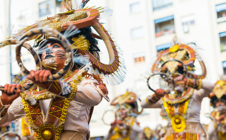 badajoz: Badajoz, Spain - february 15, 2015:Performers take part in the Carnival parade of comparsas at Badajoz City. This is one of the best carnivals in Spain, renown by all the national news media and especially highlighting massive participation of people. Editorial