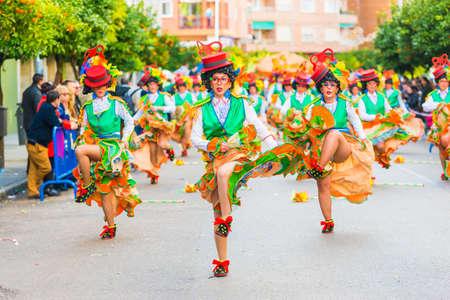 badajoz: Badajoz, Spain - february 15, 2015: Disguised people participate during the ancient carnival of Badajoz