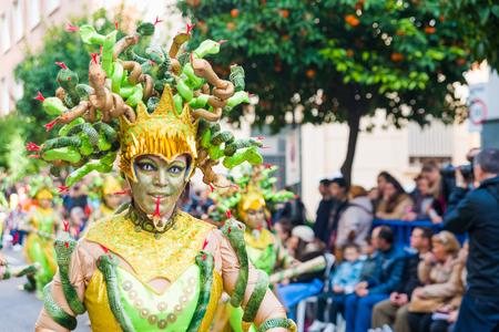 badajoz: Badajoz, Spain - february 7, 2016:Performers take part in the Carnival parade of comparsas at Badajoz City.