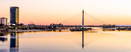 extremadura: Panoramic Royal Bridge, Badajoz, Extremadura, Spain Stock Photo