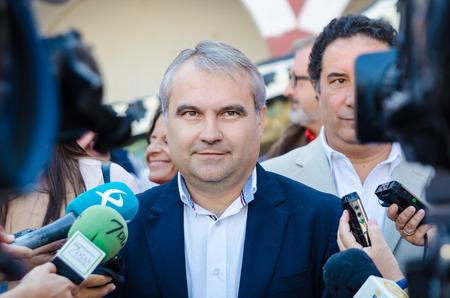 Badajoz, Spain - September 23, 2016: Badajoz City Mayor Francisco Javier Fragoso Martinez speaks in celebration of Almossassa