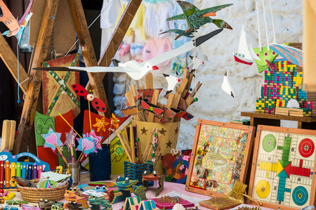 Wooden toys at Market in Jertes Valley