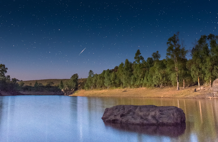 meteor: Perseid Meteor Shower in 2016. Stock Photo