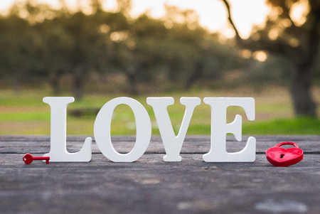 the word love and a heart padlock Stock Photo