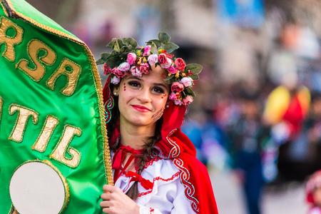 Badajoz, Spain - February 24, 2017: Kids participating in the childrens carnival parade in Badajoz Editorial