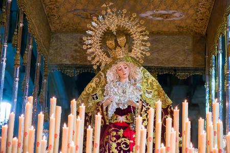 Badajoz, Spain - March 22, 2016: Easter week (Semana Santa), Nazarene processions, celebrations of international interest
