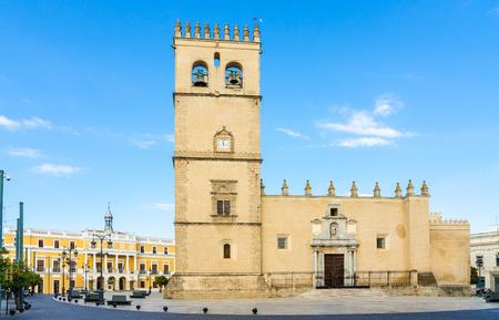 Square of Spain, in Spanish Plaza de Espana. Saint John the Baptist Cathedral San Juan Bautista Stock Photo