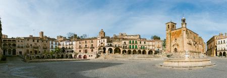 Panoramic view of Plaza Mayor at Trujillo . Saint Martins church and statue of Fransisco Pisarro. Trujillo. Spain
