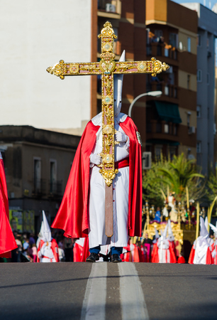 Procession of Nazarenes. Easter in the city of Badajoz, Extremadura, Spain