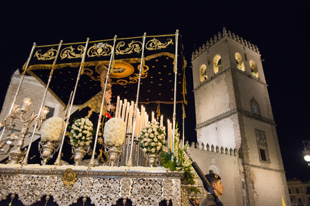 humility: Badajoz Spain monday. april .10. 2017 Procession of the Fraternity and Brotherhood of Our Father Jesus of Humility Our Father Jesus of the Arrest and Most Holy of Sorrows.