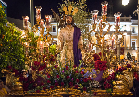 humility: Badajoz, Spain, monday. april .10. 2017 Procession of the Fraternity and Brotherhood of Our Father Jesus of Humility, Our Father Jesus of the Arrest and Most Holy of Sorrows.