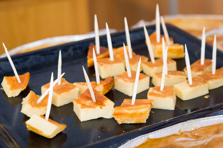 delicious artesanal cheesecake. Ibores cheese made in extremadura, Spain