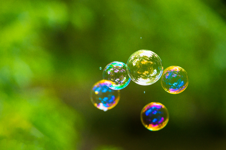 Rainbow soap bubble on green blurred background Stock Photo