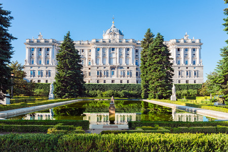 Royal Palace in Madrid, Spain viewed from the sabatini gardens. Editorial