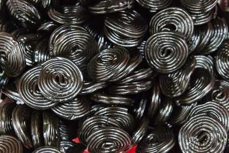 Licorice wheels candies. Candy flavored licorice