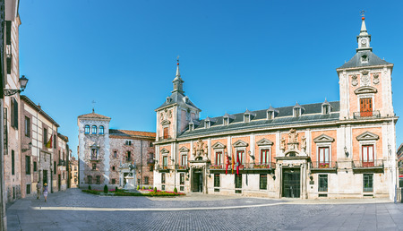 old Plaza de La Villa in the old town of Madrid, Spain
