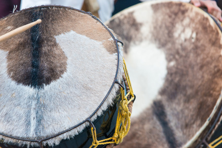Cow leather drum in the medieval festival of Elvas