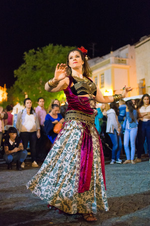 historical events: ELVAS, PORTUGAL. JUNEL 30, 2017: Belly dancer in the medieval festival in Elvas.