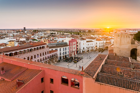 panoramic view City of Badajoz on sunlate