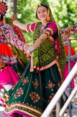 Badajoz, spain - july 15, 2017. Indian dancers during the celebration of the international folkloric festival in Badajoz Editorial