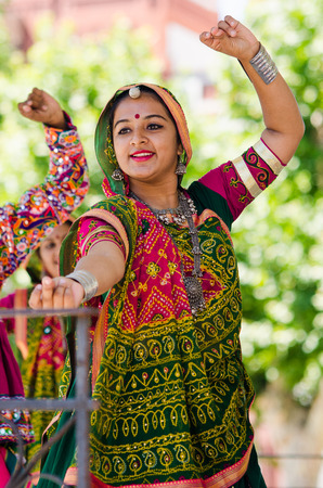 Badajoz, spain - july 15, 2017. Indian dancers during the celebration of the international folkloric festival in Badajoz Stock Photo