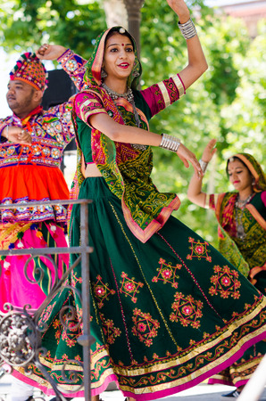 Badajoz, spain - july 15, 2017. Indian dancers during the celebration of the international folkloric festival in Badajoz Editorial