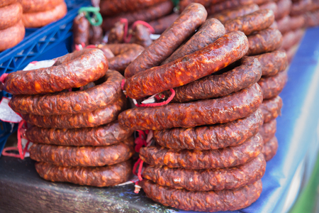 Traditional food. Spanish chorizo ham cellar. Typical Spanish sausages meat