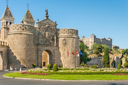 Puerta de Bisagra or Alfonso VI Gate  in city of Toledo, Spain. Stock Photo