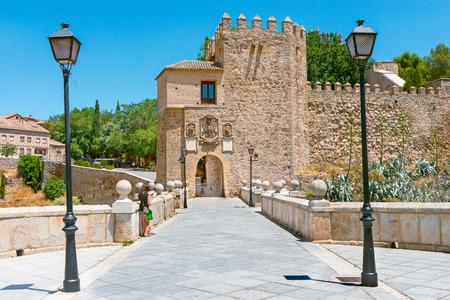 Saint Martin medieval bridge over tajos river in Toledo Castilla la Mancha Spain